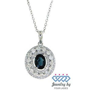 Blue Sapphire Halo Diamond Fine Pendant White Gold